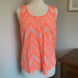 Skies are Blue Neon Coral & White Cut Out Tank